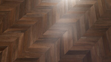 Brown Parquet Tile, With An Abstract Pattern, Laid Herringbone Shape. Background For Design And Decoration. Many Uses!