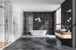 canvas print picture - Grey bathroom with tiled floor and walls