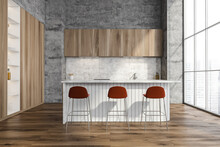 Stylish Wood Kitchen With Accent Red Bar Stools
