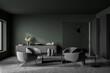 Leinwandbild Motiv Dark green and grey seating area in modern living room