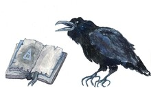 Watercolor Illustration Of A Black Cawing Crow And An Old Book With Spells And The Sign Of The Deathly Hallows Symbol Isolated On A White Background