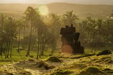 Ahu Nao-Nao Moais Statues At Anakena Beach At Easter Island, Rapa Nui National Park, Chile