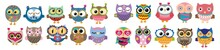 Set Of Owls. Cartoon Owls, Set Of Owls For Halloween. Cartoon Owl Icons. Owl Birds Vector Design Of Cute Cartoon Owlets. Colorful Feathered Barn, Long Eared And Eagle Owls With Spread Wings.