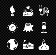 Set Tree, Drought, Electric Saving Plug In Leaf, Earth Globe, Earthquake, Volcano Eruption With Lava, Sun And Stump Icon. Vector