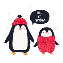 Cute Christmas Penguins And Hand Lettering Let Is Snow. Christmas Characters. Vector Hand-drawn Color Children's Illustration.