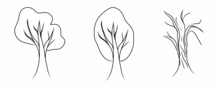 Tree Silhouettes. Hand Drawing Illustration. Isolated White Background