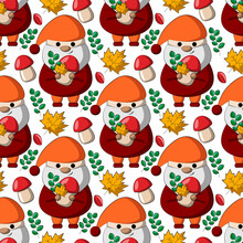 Seamless Vector Pattern With Little Autumns Gnomes With Mushroom And Leaf