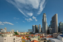 Singapore City Skyline At Boat Quay And Clarke Quay Waterfront Business District