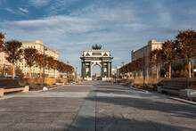 Triumphal Gates In Moscow, Built In Honor Of The Victory Of The Russian People In The War Of 1812. Kutuzovski Avenue In Moscow,Russia.