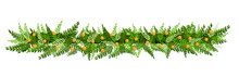 Christmas Isolated Pine Branch For Decoration With Yellow Berries. Vector Illustration.