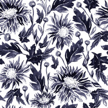 Black Freehand Ink Seamless Pattern With Two-toned Chrysanthemum Flowers, Leaves, Stems And Buds In Monochrome Tones.Hand Drawn Illustration For Floral Design, Wallpaper, Textile, Fabric, Bedding.