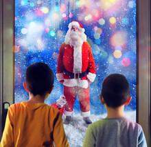 Children Observes Santa Claus Through The Windows