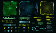 Futuristic HUD-style Frame For GUI, UI, UX And Web Design. Callouts, Arrows, Labels, Information Panels Of The Call Window,  Frame Screen. Loading Bar. Green, Blue, Yellow Callouts Titles. Vector