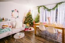 Living Room With Wonderland Christmas Decor