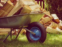 Firewood And Wheelbarrow.