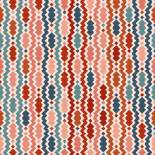 Vector Vintage Ethnic Pattern. Illustration With Brown, Teal, Pink, Beige Zigzag Shapes. Background Is Used In The Design Of Carpets, Textiles, Clothing, Wallpaper, Cover, Packaging