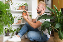 Man Taking Care Of Plants Indoors