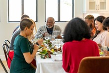 Family Eats Formal Meal Together