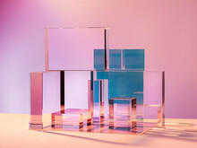 Transparent Geometric Stand For Cosmetics