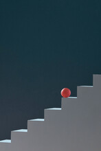 Abstract Conceptual Of Stair And Sphere, Minimal Style