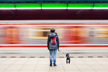 Woman With Dog At Subway Station With Blurry Train