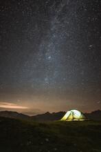 Illuminated Tent At Night