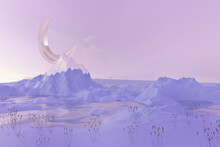 Abstract Winter Scene With Geometrical Moon