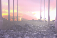 Alien Planet With Rocks And Sunset
