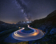 Hairpin Bend And Milky Way