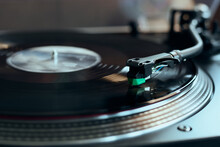 Vinyl Record Playing On Turntable