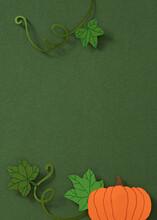 Paper Craft Autumn Pumpkin Overhead View - Flat Lay