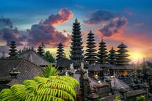 Besakih Temple At Sunset In Bali, Indonesia.