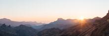 Mountain Ridge In Sunrise Light