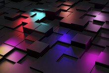 Pattern Of Dark Cubes And Rainbow Colors