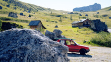 Tiny Red Car Goes Surfing / Camping In The Mountains