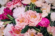 Close-up Of Multi-colored Peony Flower Arrangement