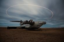 Futuristic Airplane Lost On The Beach