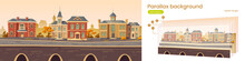 Parallax Background 2d Vintage City, Retro Autumn Cityscape Street With European Victorian Buildings Along Lake Promenade. Cartoon Game Layered Scene With Colonial Architecture, Vector Illustration