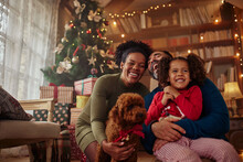 Mixed Race Family Celebrating Winter Holidays With Their Pet At Home