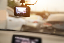 CCTV Car Camera Video Recording The Traffic Ahead For Safety And Road Accident