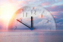 Beautiful Lilac Sky, Ocean And Close Up Of Clock. Double Exposure. Copy Space. Concept Of Daylight Savings Time