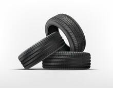Wall Of Tyres. Car Tyres Pile. Car Wheels Set Isolated On A White Background. Car Tires With Different Tread Marks. Realistic Wheel Icon. Tyre Shop, Tyres Stack Change Auto Service.