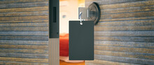 Hotel Door Key With Blank Label In The Keyhole. 3d Illustration