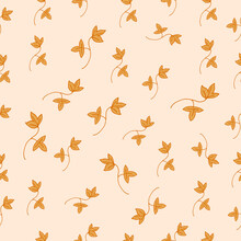 Fallen Dried Leaves Illustration On Pastel Background. Spring, Summer. Hand Drawn Vector, Seamless Pattern. Brown Color. Doodle Art For Wallpaper, Wrapping Paper And Gift, Backdrop, Fashion, Fabric.