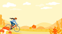 Autumn Cycling Background Vector Illustration. Woman Riding Bike In Autumn Season With Copy Space.
