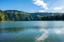 Beautiful Green And Blue Landscape At The Seven Cities Lake ( Lagoa Das Sete Cidades ), São Miguel Island In The Azores.