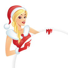 Fashion Girl In A Christmas Outfit Poses For An Advertisement