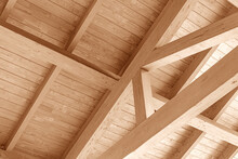 Wooden Roof Construction. Part Of The Floor Of A Wooden House.