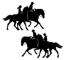 Boy And Girl Wearing Cowboy Hats Riding Running Horses With Their Father - Ranch Kids Black And White Vector Silhouette Design Set