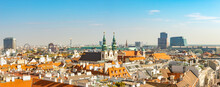 Panoramic Bird View Over Warm Sunset In In Historical Touristic Downtown With Many Old And Modern Buildings, Vienna, Austria.